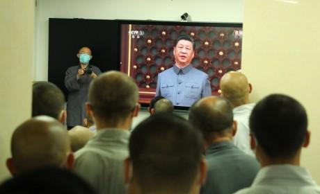 """少林寺组织僧众观看""""庆祝中国共产党成立100周年大会""""直播"""