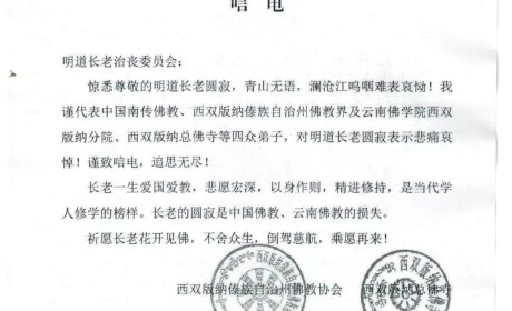 云南省西双版纳傣族自治州佛教协会致唁电悼念明道长老
