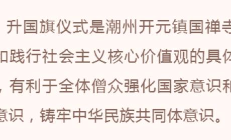 """潮州开元镇国禅寺举行升国旗仪式并组织僧众观看""""庆祝中国共产党成立100周年大会"""""""